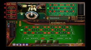 tampilan menu meja roulette di casino sbobet